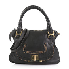 Chloe Marcie Turnlock Satchel Leather Medium Black