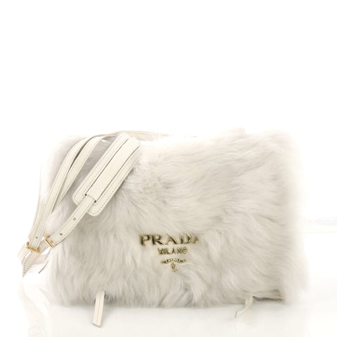 dac697244ac051 Prada Etiquette Shoulder Bag Fur and Glace Calf White 40066214 – Rebag