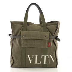 Valentino VLTN Pocket Tote Printed Canvas Green