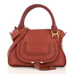 Chloe Marcie Satchel Leather Medium Orange