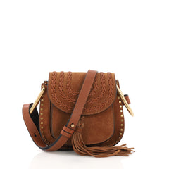 Chloe Hudson Handbag Whipstitch Suede Mini Brown 40066224