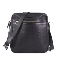 Gucci Front Zip Messenger Diamante Leather Medium Black 40066227