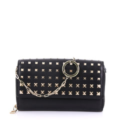 Valentino Degrade Rockstud Wallet on Chain Leather Small Black 40066233