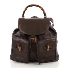 Gucci Vintage Bamboo Backpack Leather Medium Brown