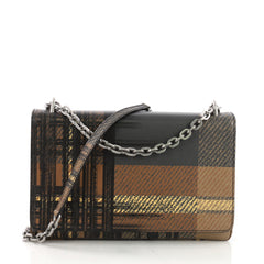 Prada Chain Crossbody Bag Printed Saffiano Leather Medium Brown 40066254