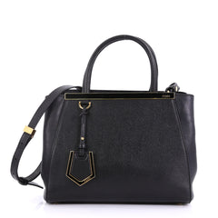 Fendi 2Jours Handbag Leather Petite Black 40066258