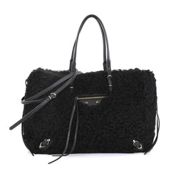 Balenciaga Papier B4 Zip Around Classic Studs Handbag Shearling Black 40066263