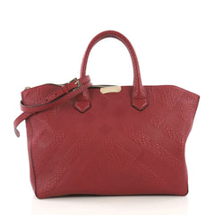 Burberry Dewsbury Convertible Tote Check Embossed Leather Medium