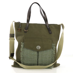 Chanel Cuba Zip Shopping Tote Canvas with Tweed Large Green