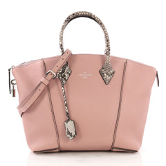 Louis Vuitton Soft Lockit Handbag Leather with Python PM Pink