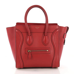 Celine Luggage Handbag Grainy Leather Micro Red 40066321