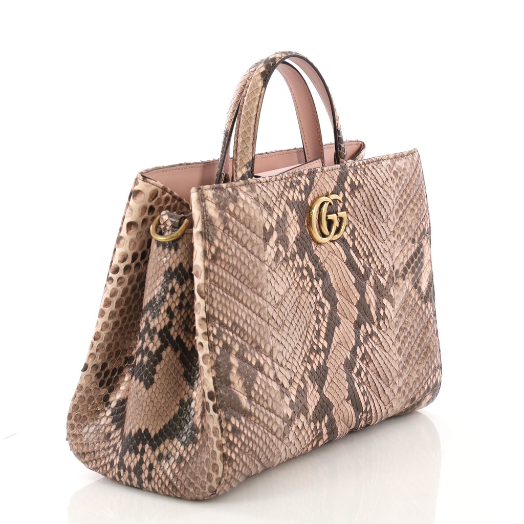 d074ae11ec8f Gucci GG Marmont Tote Matelasse Python Small Pink 40066323 – Rebag