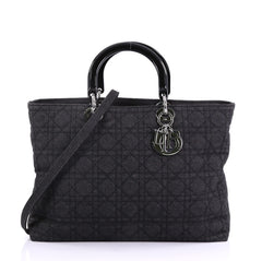 Christian Dior Lady Dior Tote Cannage Quilt Denim Large Black