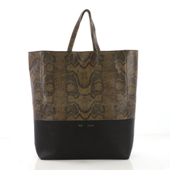 Celine Vertical Bi-Cabas Tote Python and Leather Large Green 40066360