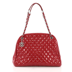 Chanel Just Mademoiselle Handbag Quilted Patent Large Red 4006643
