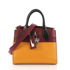 Louis Vuitton City Steamer Handbag Leather Mini Orange