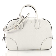 Gucci Bright Top Handle Bag Diamante Leather Medium White 4006645