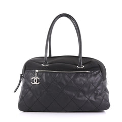 Chanel Biarritz Duffle Bag Quilted Canvas Large Black 40066/48