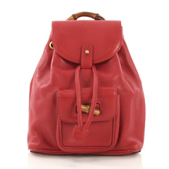 Gucci Vintage Bamboo Backpack Leather Mini Red 40066/4