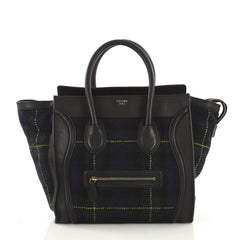 Celine Multicolor Luggage Handbag Tartan Tweed with Leather Mini Black 4006652