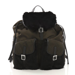 Prada Double Front Pocket Backpack Tessuto with Fur Medium Green 4006654