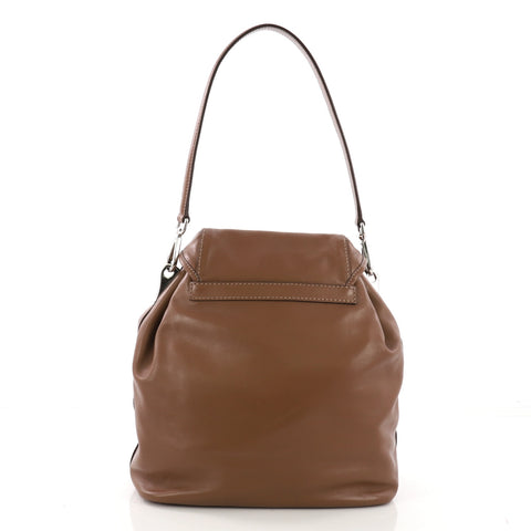 3d71a831c5f0 Prada Double Pocket Shoulder Bag Soft Calfskin Medium Brown 4006657 ...