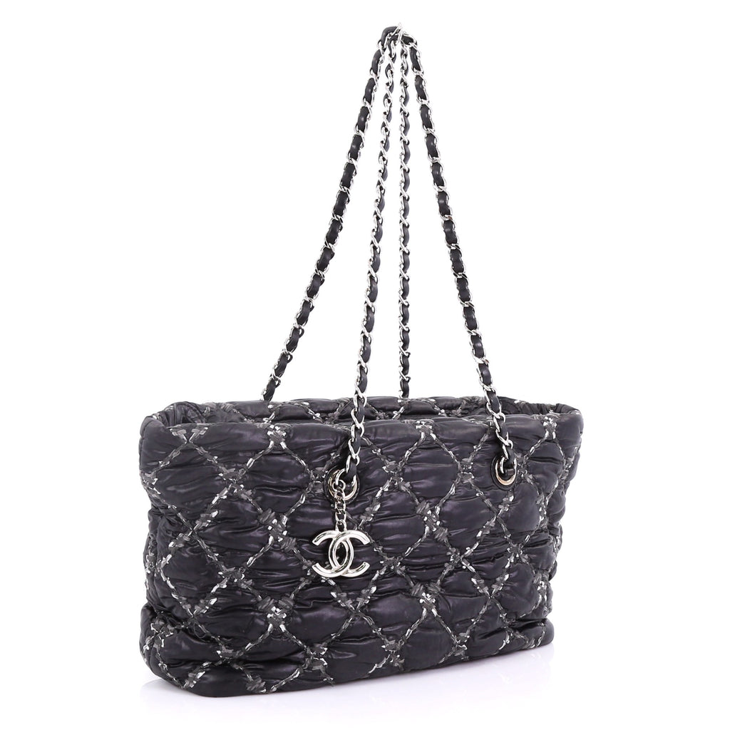 b512c7ef0d990f Chanel Tweed on Stitch Zip Tote Quilted Nylon Small Black 4006660 ...
