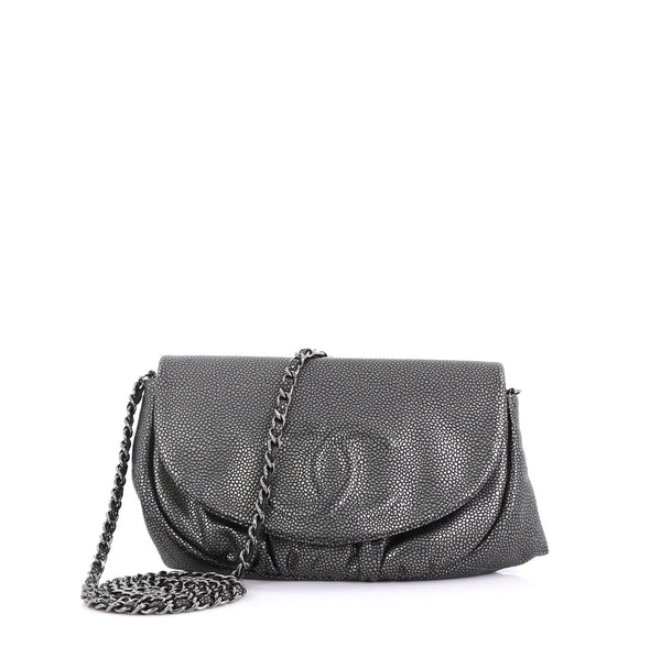 e22b33a11f71 Chanel Half Moon Wallet on Chain Caviar Gray 4006674 – Rebag