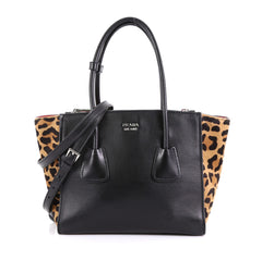 Prada Twin Pocket Tote Glace Calf with Cavallino Calf Hair Small