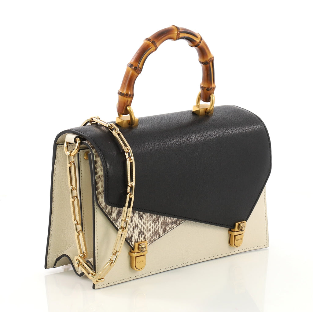c15d2594238fbe Gucci Ottilia Top Handle Bag Leather with Snakeskin Small 4006684 ...