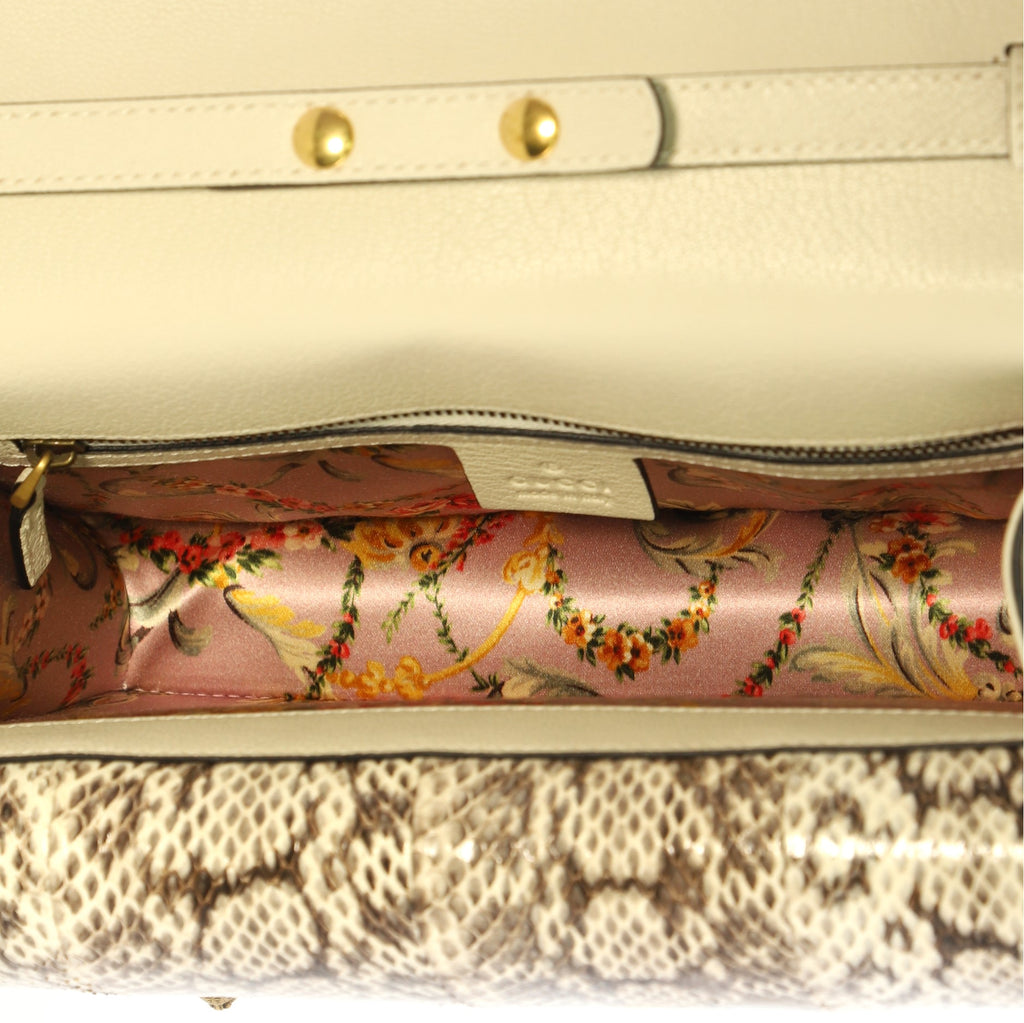 5256eea7bf7 Gucci Ottilia Top Handle Bag Leather with Snakeskin Small 4006684 ...