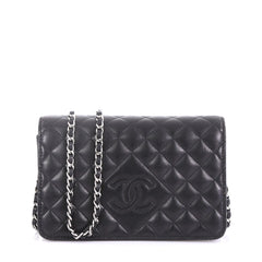 Chanel Diamond CC Wallet on Chain Quilted Lambskin Black 4006695