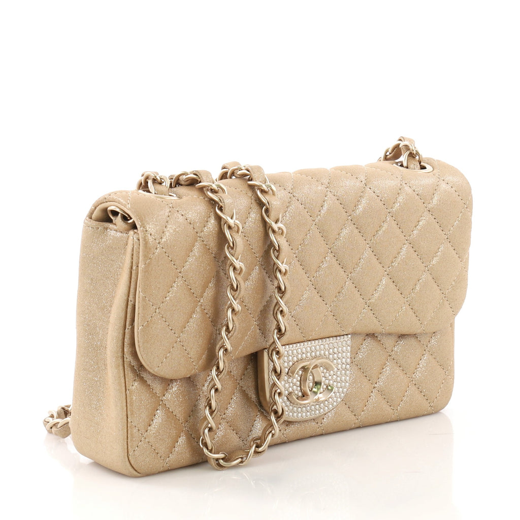 e4c551b10a08 Chanel Pearl CC Crystal Flap Bag Quilted Iridescent Fabric 400711 ...
