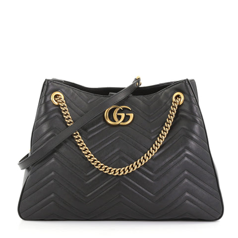 8e69d471006 Gucci GG Marmont Chain Shoulder Bag Matelasse Leather Black 400731 – Rebag