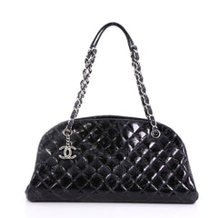 Chanel Just Mademoiselle Handbag Quilted Glazed Calfskin Medium