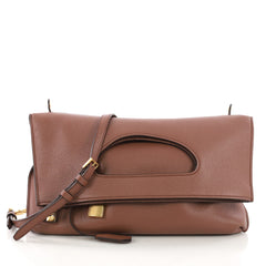 Tom Ford Alix Fold Over Crossbody Bag Leather Brown