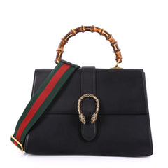 Gucci Dionysus Bamboo Top Handle Bag Leather Large Black 401211