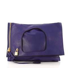 Tom Ford Alix Fold Over Bag Leather Large Purple