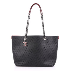 Chanel Shopping Tote Perforated Caviar Small Black 401275