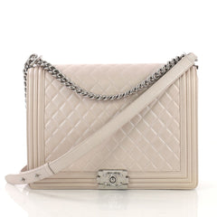 Chanel Boy Flap Bag Quilted Lambskin Large Pink