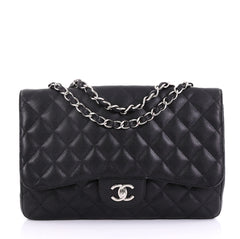Chanel Vintage Classic Single Flap Bag Quilted Caviar Jumbo Black