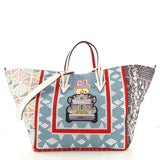 Christian Louboutin Caba Tote World Motif Embroidered Jacquard Large Blue 4015330