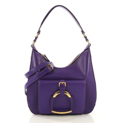 Ralph Lauren Collection Stirrup Hobo Calfskin Leather Small Purple
