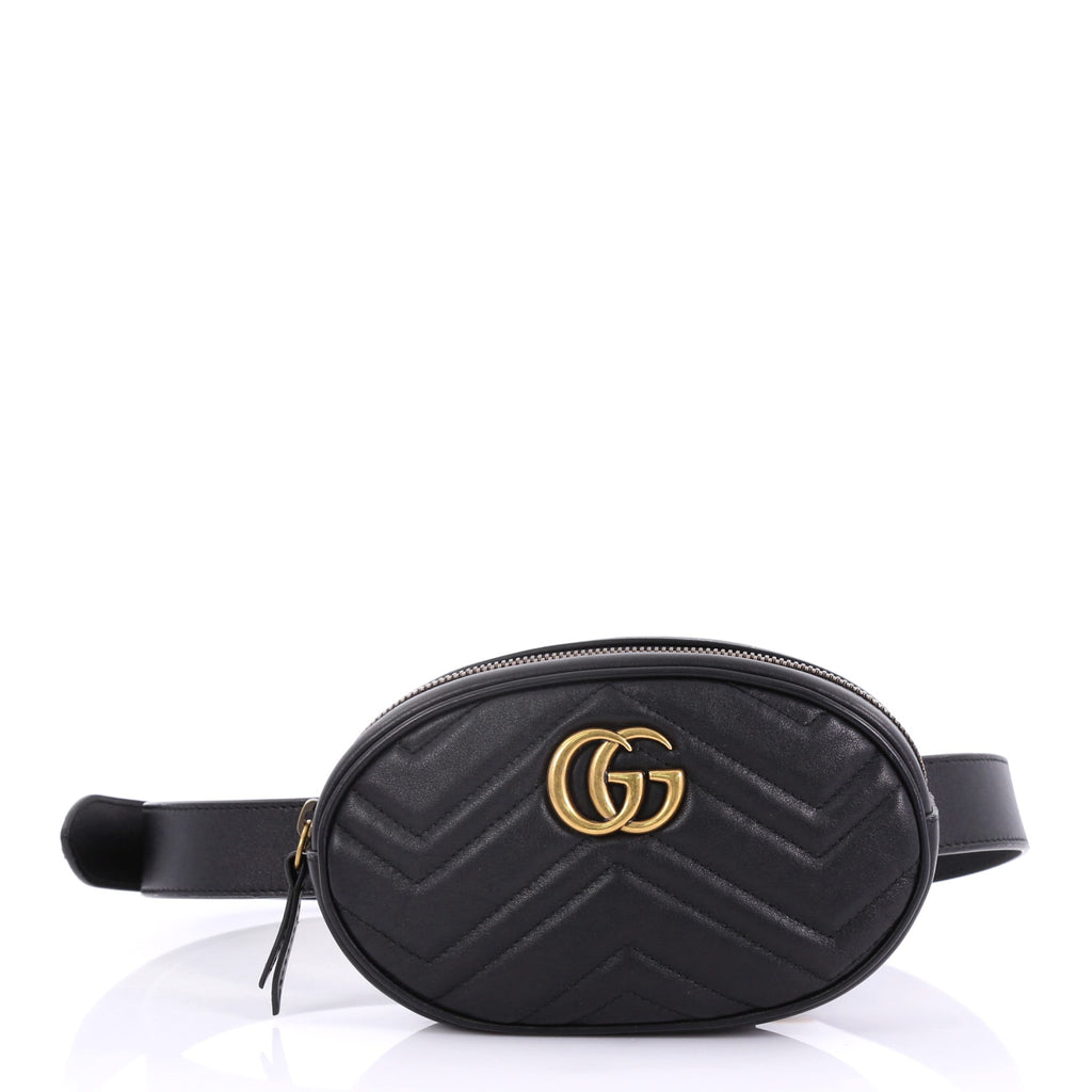 416ad516698 Gucci GG Marmont Belt Bag Matelasse Leather Black 4015348 – Rebag