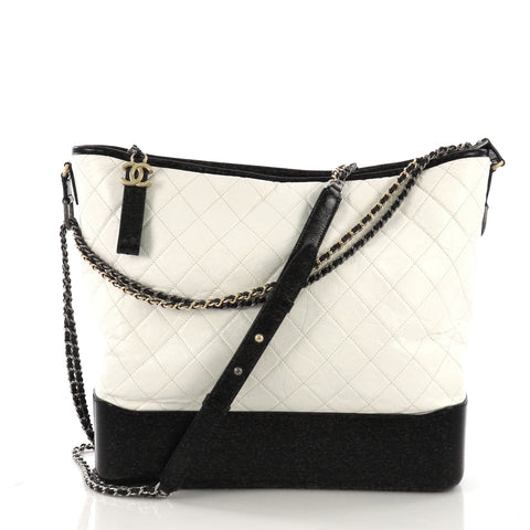 87d81e88f0e8 Chanel Gabrielle Hobo Quilted Aged Calfskin Large White 4015364 – Rebag