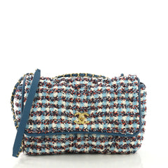 Chanel Chesterfield Flap Bag Tweed Maxi Blue