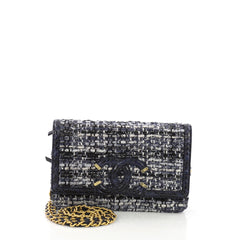 Chanel Filigree Wallet on Chain Quilted Tweed with Watersnake Blue