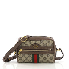 Gucci Ophidia Shoulder Bag GG Coated Canvas Mini Brown