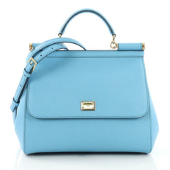 Dolce & Gabbana Miss Sicily Handbag Leather Medium Blue