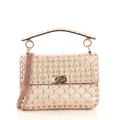 Valentino Rockstud Spike Flap Bag Quilted Leather Medium Pink